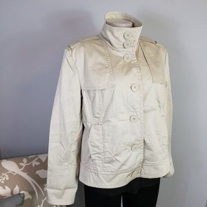 Talbots Petites stretch cotton jacket tan high nec